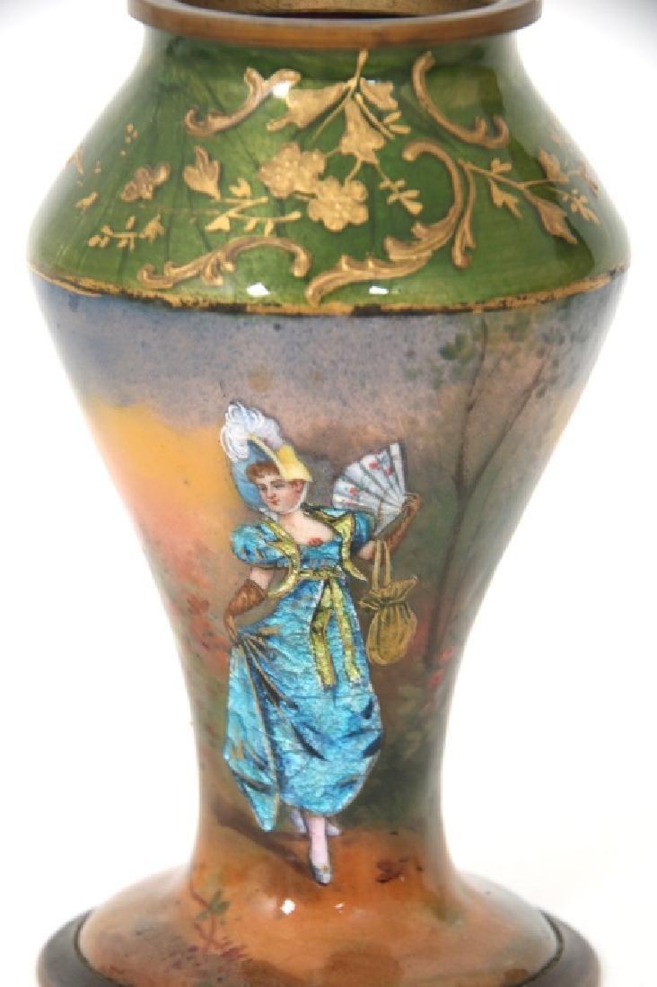 4 Porcelain and Enamel Cabinet Vases - 7