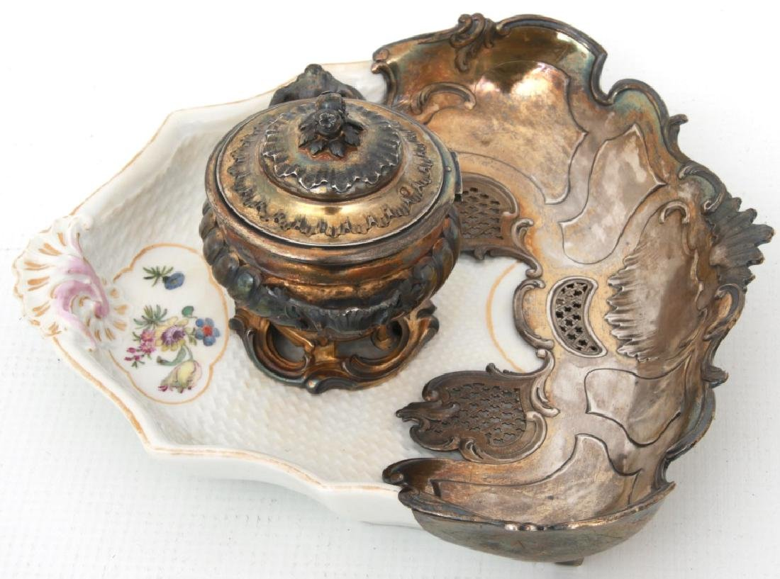 French Sterling & Porcelain Inkstand - 3