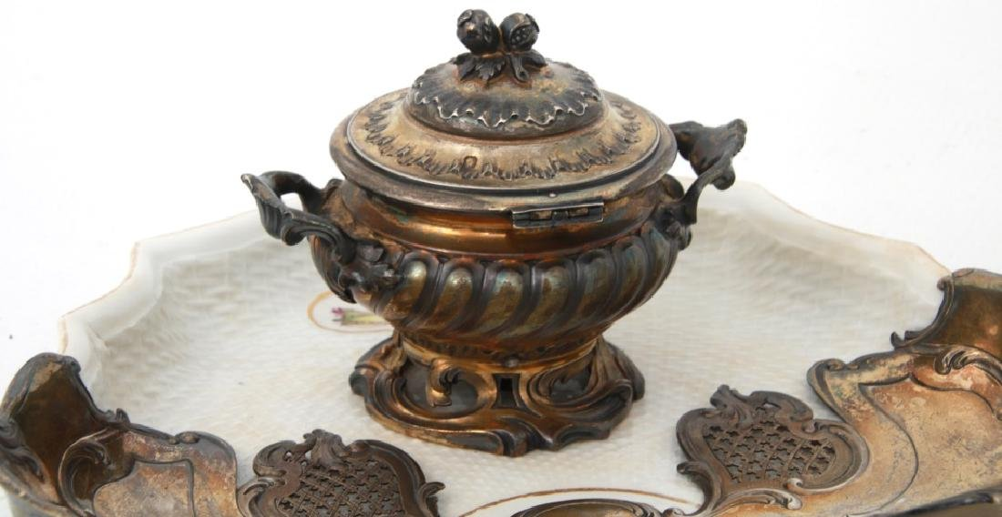 French Sterling & Porcelain Inkstand - 4