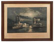 Currier  Ives Midnight Race on the Mississippi