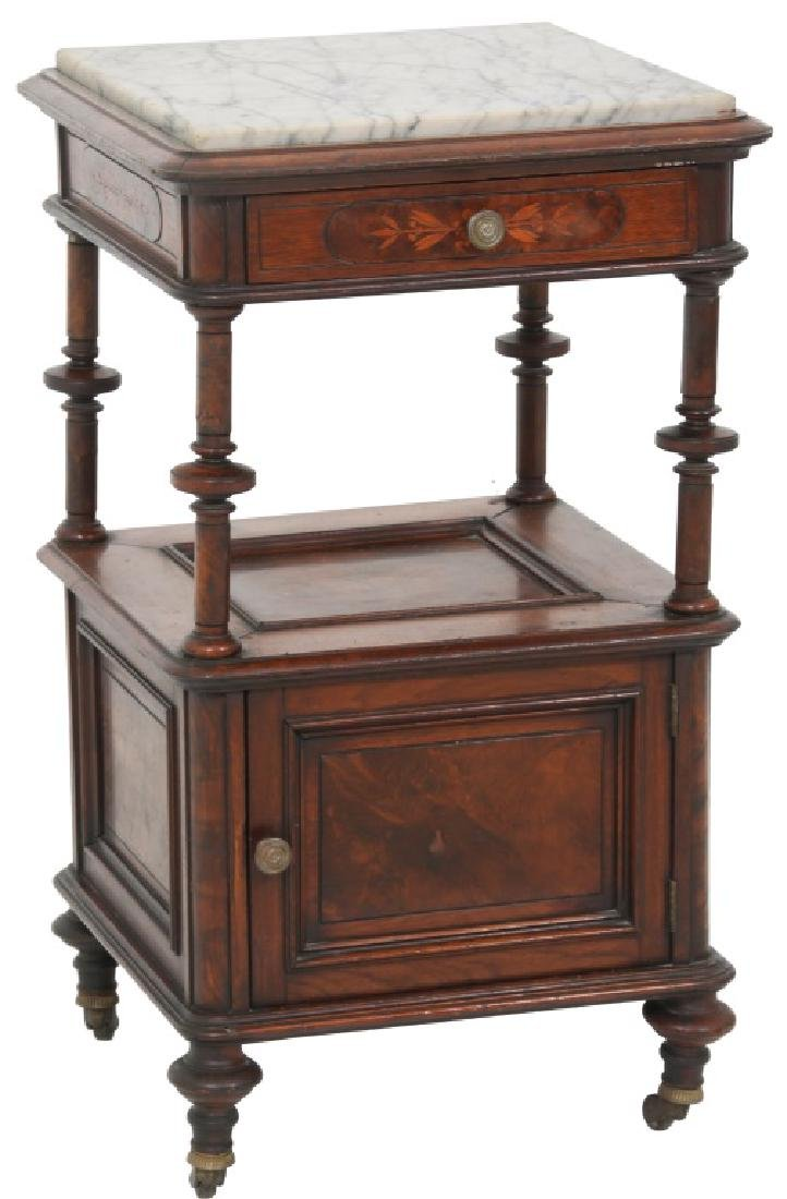 Walnut Marble Top and Inlaid Half Commode