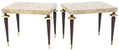 Pair of John Stuart Mid Century Leather Top Tables
