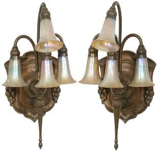 Pair of Tiffany Studios 4 Light Lily Sconces