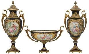 th Century Sevres Three Piece Garniture Set