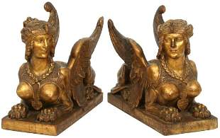 Pair of Empire Gilded Wood Sphynxes
