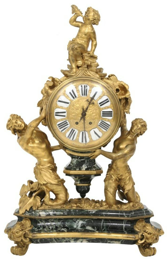 Large Marble and Gilt Bronze Mantle Clock
