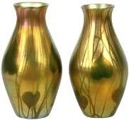 Pair of Tiffany Studios Leaf  Vine Pattern Vases