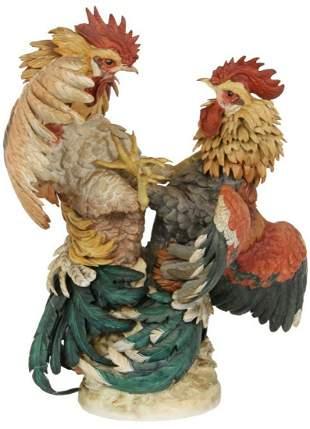 Large Algora Porcelain Fighting Rooster Sculpture
