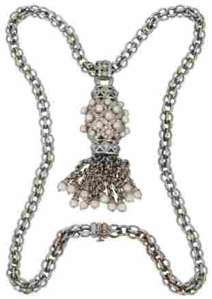 18K White Gold Double Link Necklace with Pendant