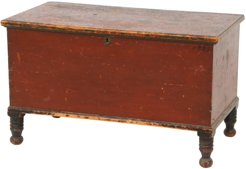 Early American Red and Green Blanket Chest