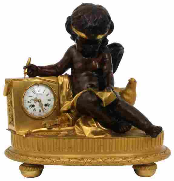 Large French Figural Cupid Mantle Clock