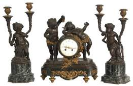 Tiffany & Co. Marble & Bronze Clodion Clock Set