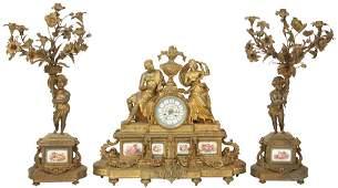 French Gilt Bronze  Porcelain Figural Clock Set