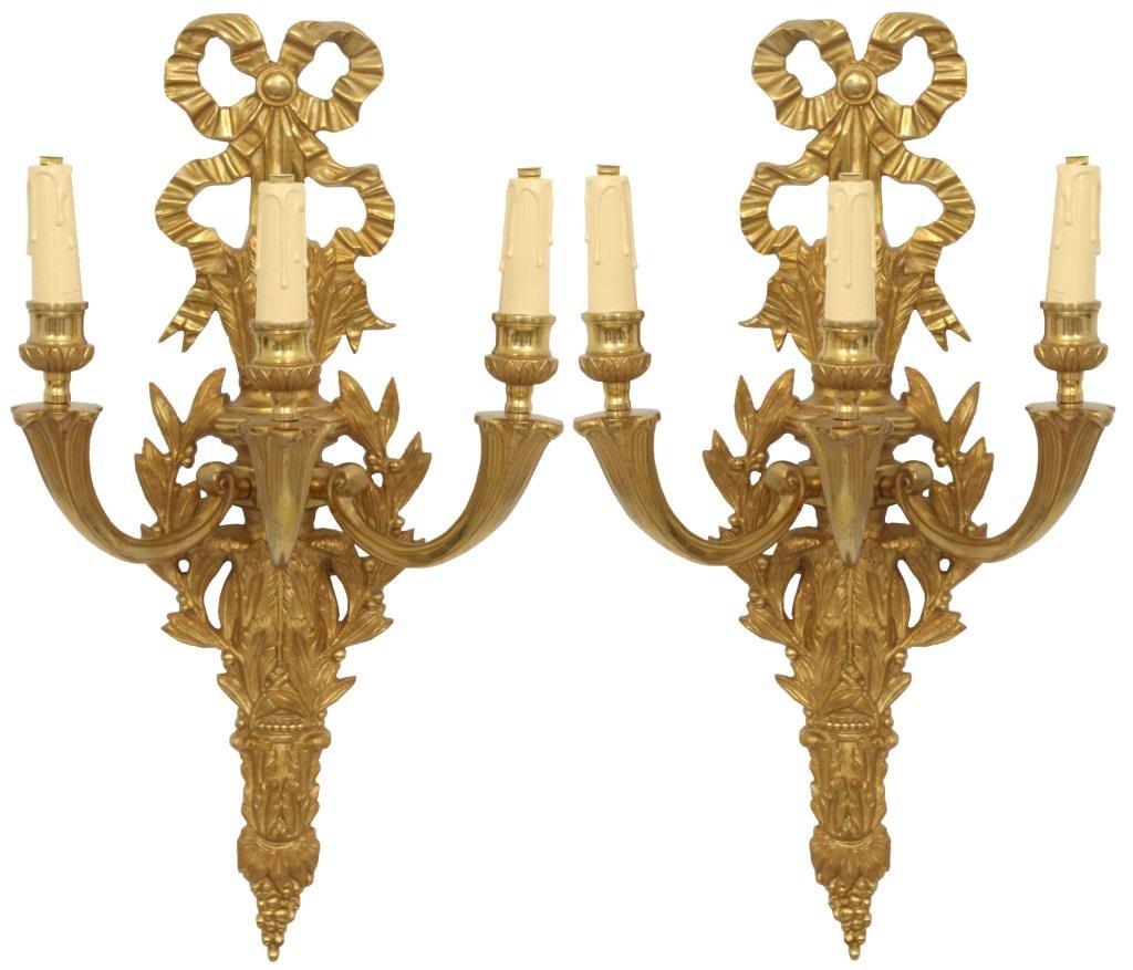 Pair of French Gilt Bronze 3 Arm Sconces