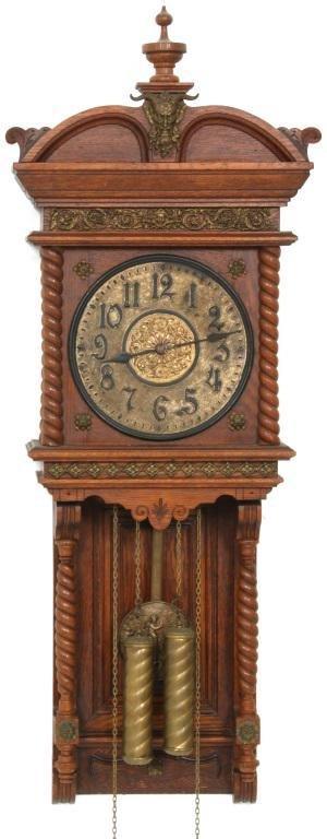 "Ansonia ""Niobe"" Oak Weight Driven Wall Clock"