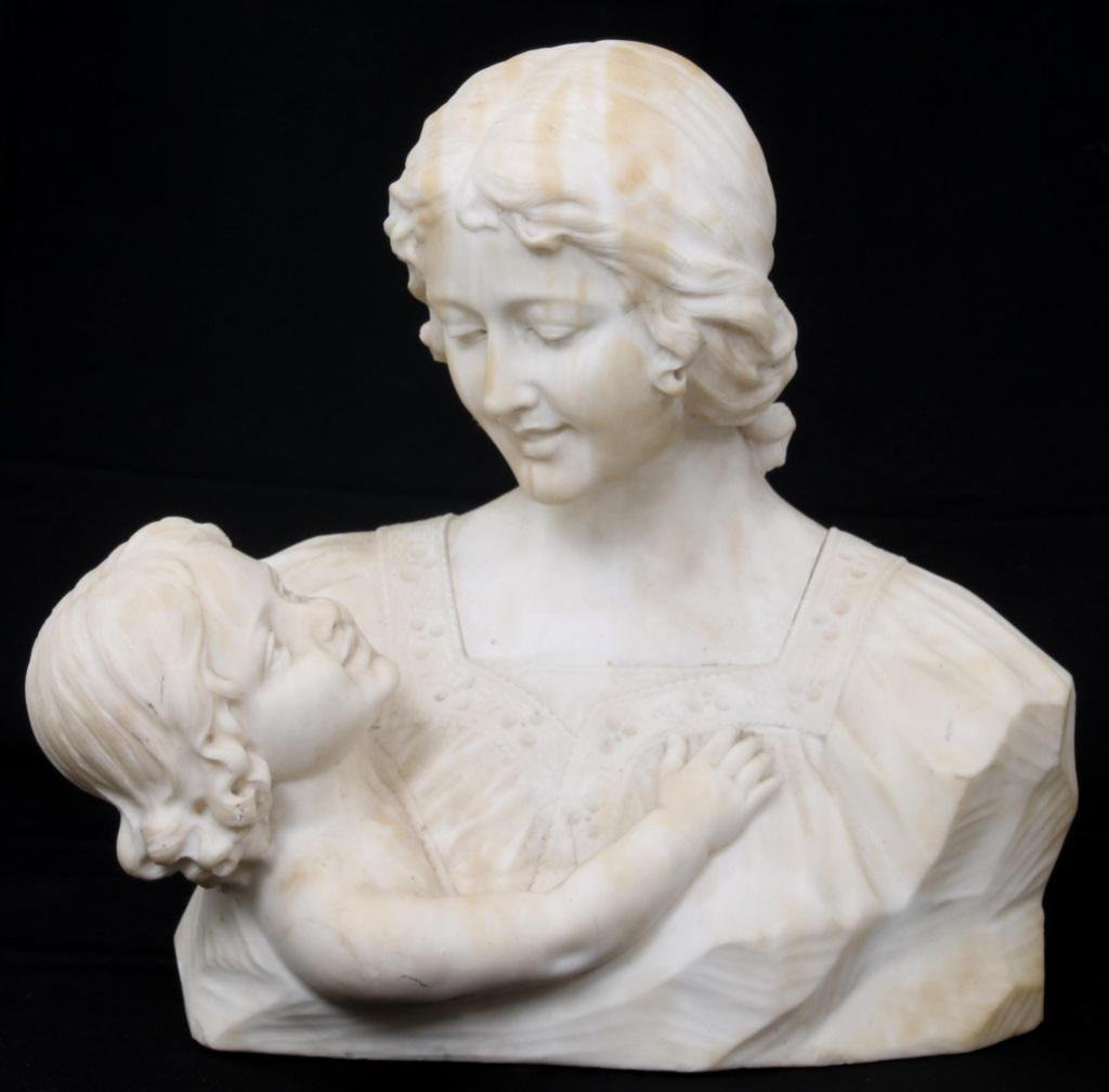 Marble Bust of Woman & Child