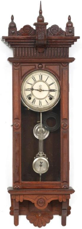 "Waterbury ""Brockville"" Walnut Regulator Clock"