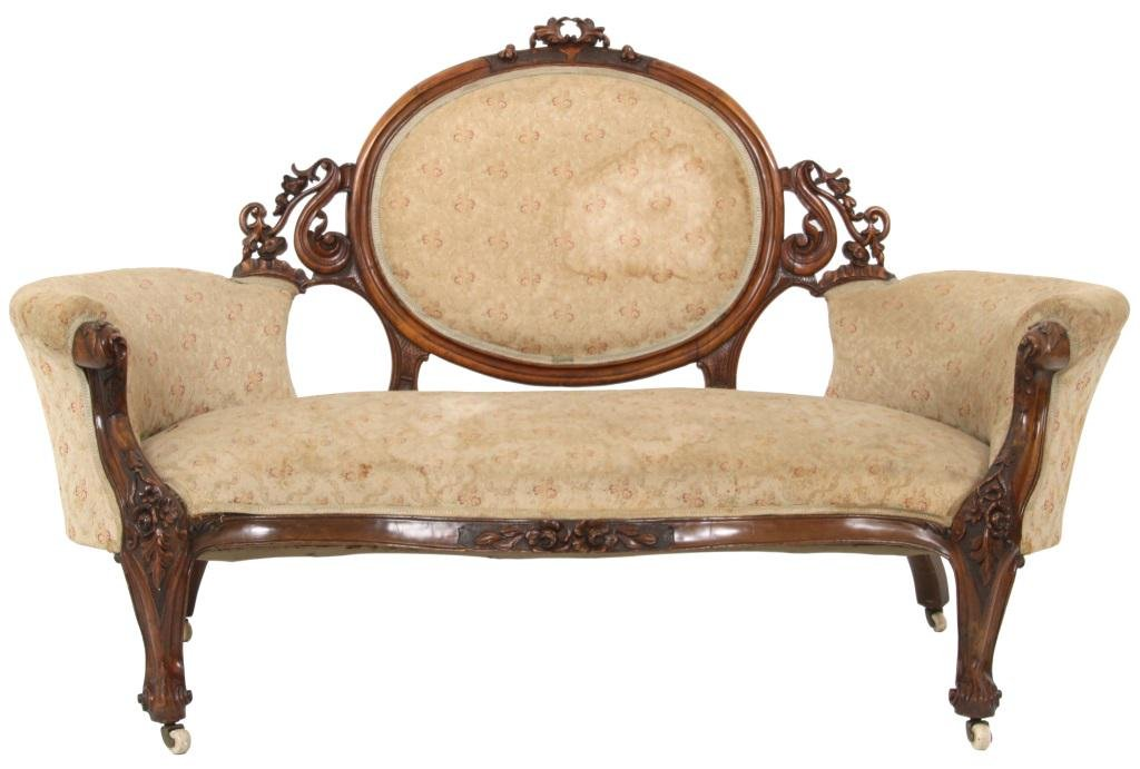 English Victorian Walnut Settee