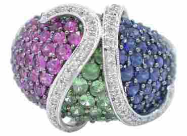 18K White Gold, Diamond & Gemstone Ring