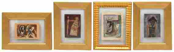 Four Figural Abstract Paintings