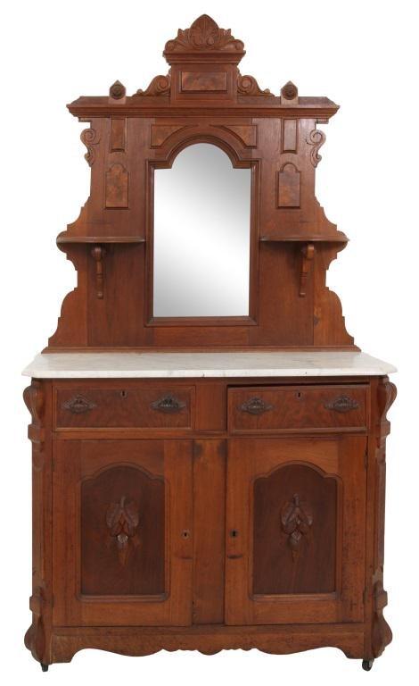 Victorian Walnut Marble Top Sideboard