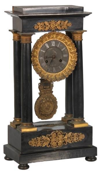 French Empire Ebonized Portico Clock