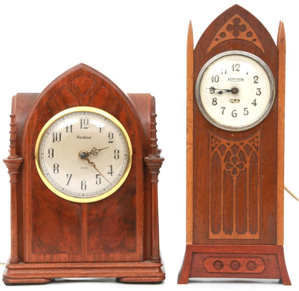 Two Gothic Electric Clocks