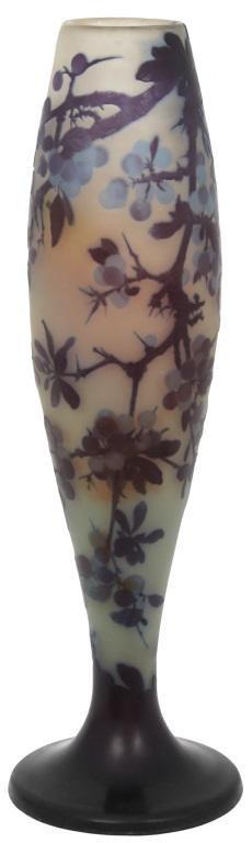 Monumental Gallé Cameo Glass Berry Vase