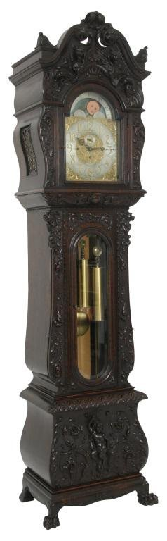 R.J. Horner Carved Oak Grandfather Clock