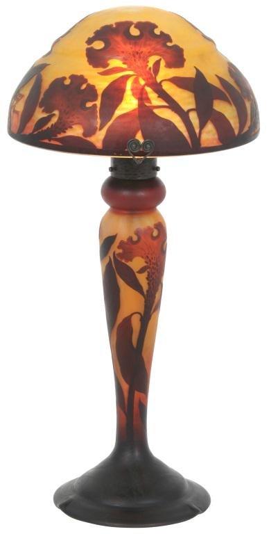 Monumental Daum Nancy Cockscomb Lamp