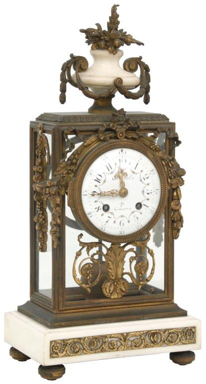 French Bronze & Marble Crystal Regulator Clock