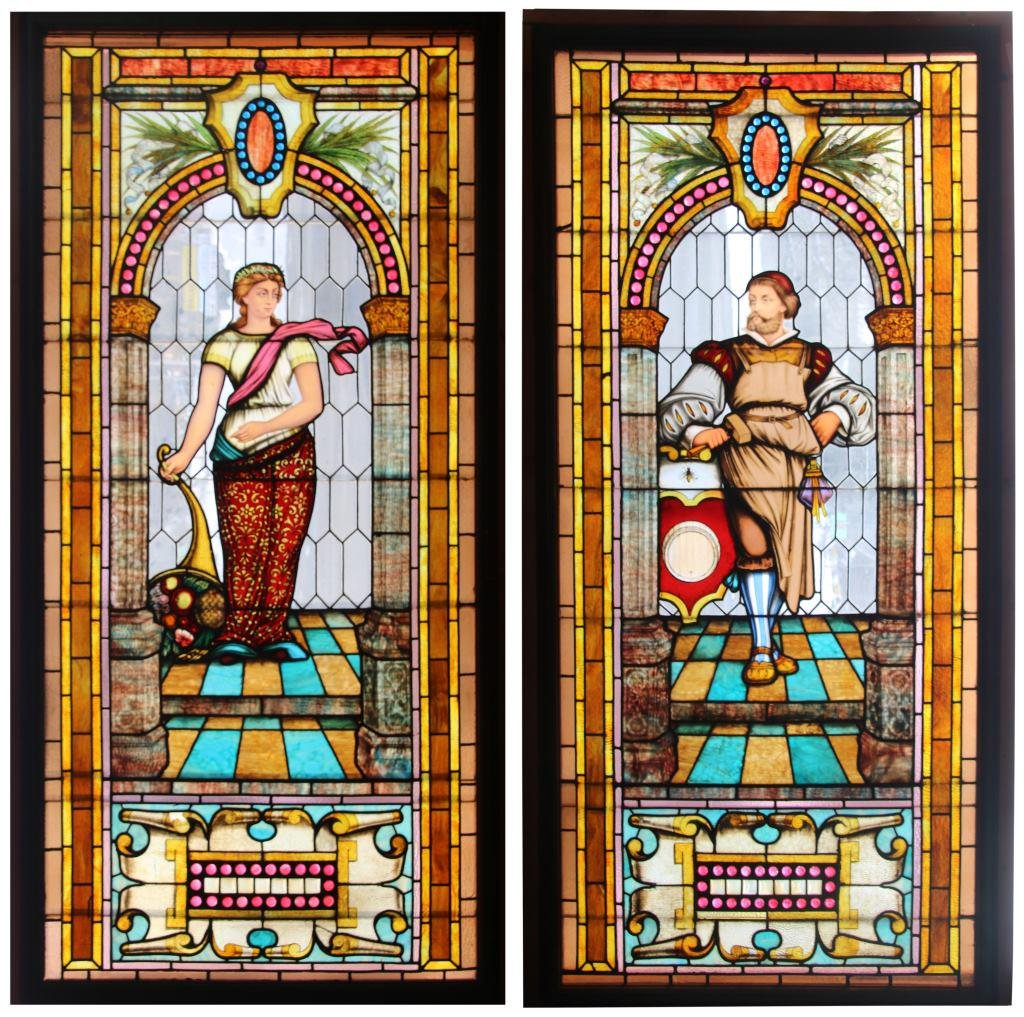 Pair of Figural Leaded Glass Windows