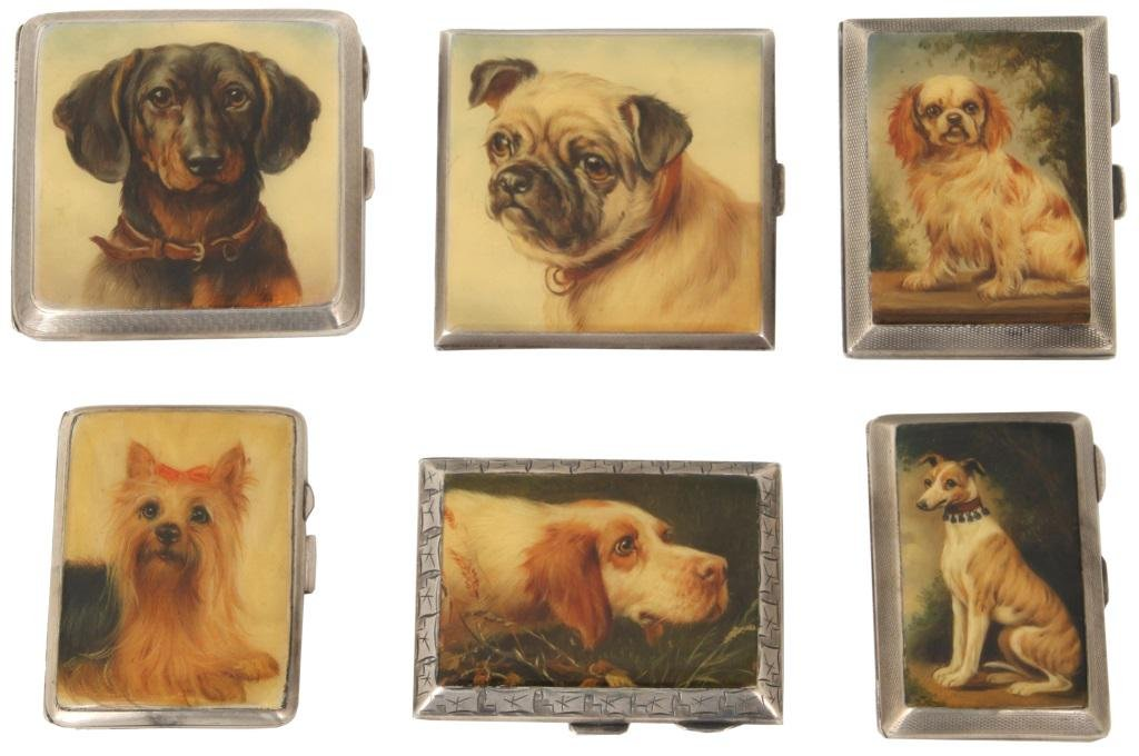 Six Enamel & Silver Cigarette Cases