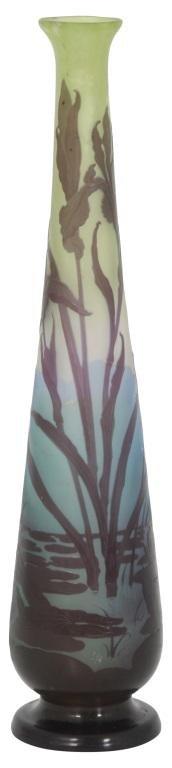 Gallé Cameo Glass Iris Vase