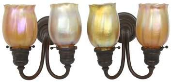 Pair of Tiffany Studios Bronze Sconces