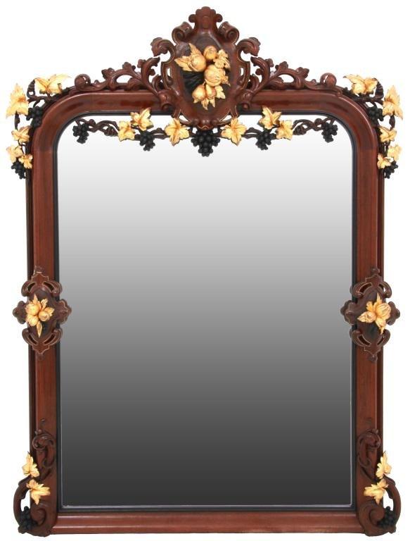 Walnut Victorian Over Mantle Mirror