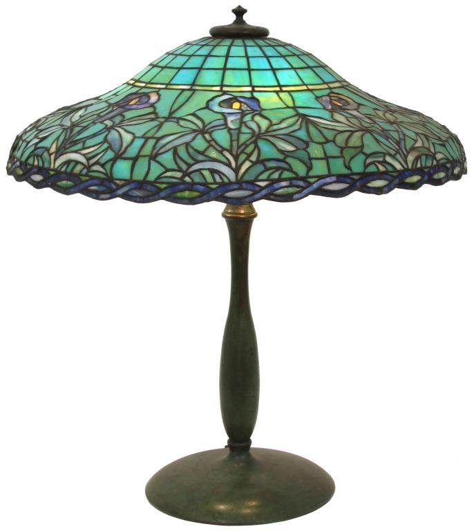 Attr. Suess Floral Leaded Glass Table Lamp