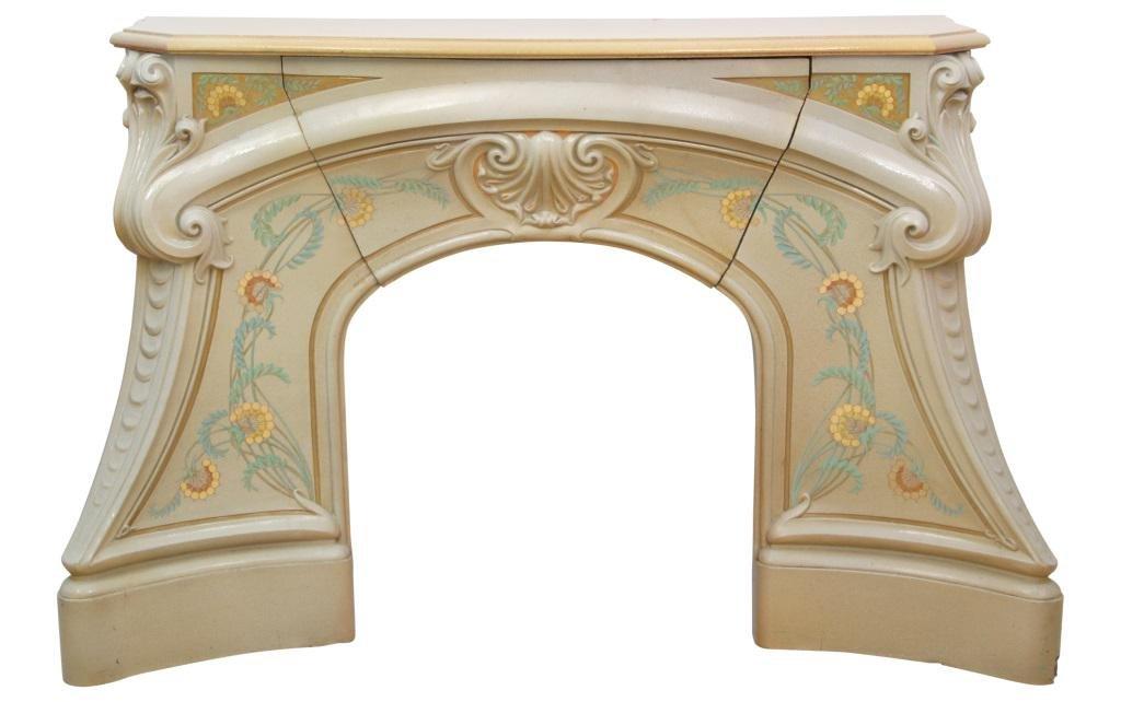 French Art Nouveau Fireplace Mantel