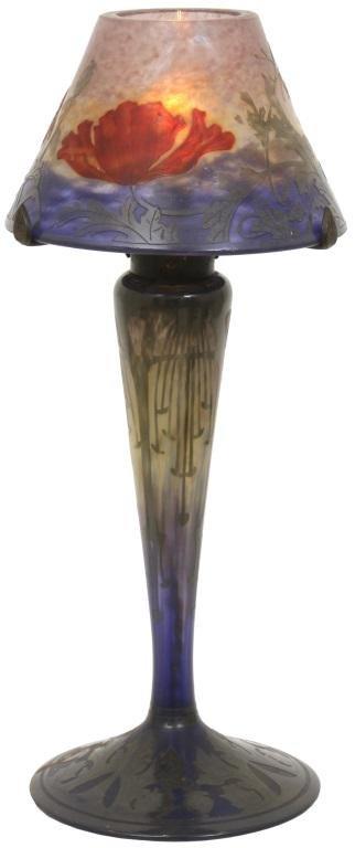 Daum Nancy Wheel-Carved Cameo Glass Lamp