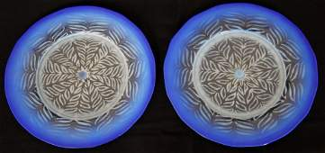 Pair of Tiffany Pastel Favrile Glass Plates
