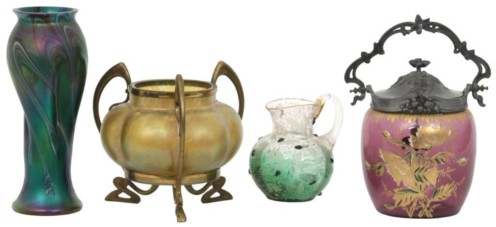 Group of Four Art Glass Items