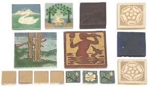 15 Grueby Faience Pottery Tiles