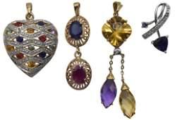 Four Gold & Gemstone Necklace Pendants