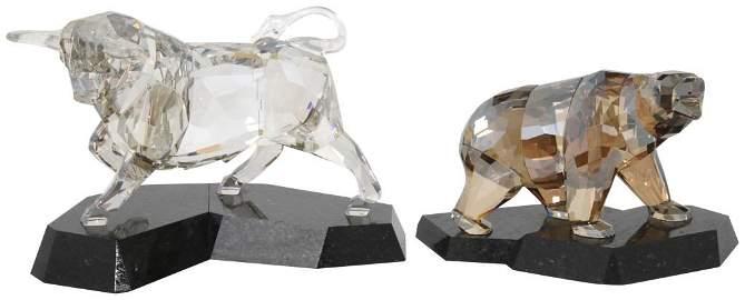 Swarovski Crystal Bull & Bear Figurines