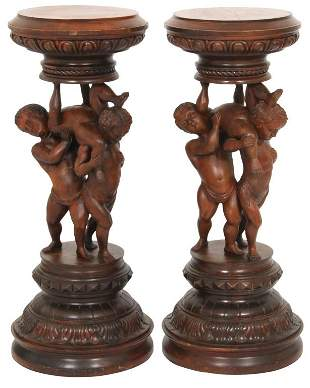 Pair of Italian Figural Carved Pedestals
