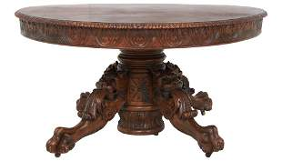 Figural Carved Mahogany Dining Table