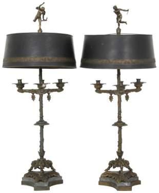 Pair of Figural Bronze Lamps