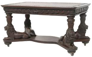 American Figural Carved Mahogany Library Table