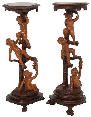 Pair of Italian Carved Putti Pedestals