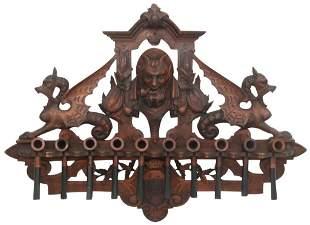Black Forest Carved Pipe Rack